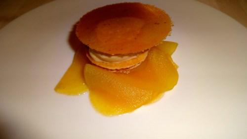 Modern Version of Apple Cake with Salted Caramel Ice Cream.