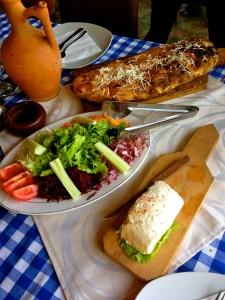 Veggies, Fresh Cheese, and Bread.