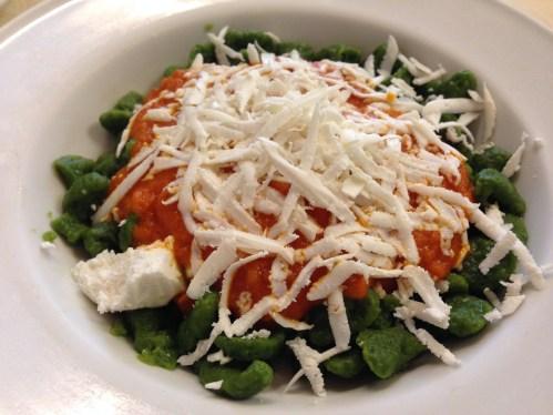 Spinach Pasta with Tomato and Ricotta Salata.