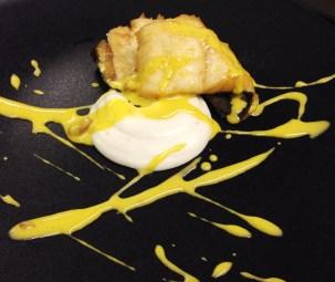 Turbot with Rice Polenta, Chestnuts, and Zabaione.