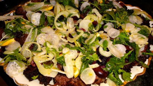 Peppered Short Ribs with Arugula, Kalamata Olives, and Fennel.