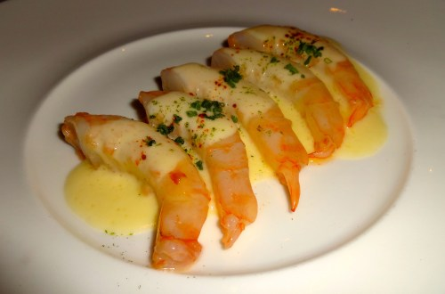 Peter Canlis Prawns with Dry Vermouth, Garlic, and Lime (7/10).
