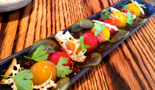 Cherry Tomatoes with Gelée of Gazpacho Consommé, Persian Cucumber, and Crispy Garlic Chips (7/10).