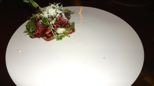 Wage Beef Carpaccio with Ponzu Gel, Grated Wasabi Snow, and Charred Scallion Purée (7.5/10).