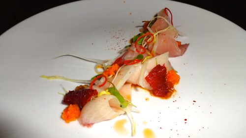 Hamachi Crudo with Blood Orange, Fresno Chili, Satsuma Kosho, and Onion Ponzu (7.5/10).