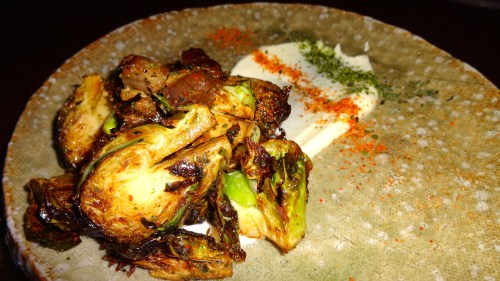 Fried Brussel Sprouts with Bacon and Cauliflower Purée (7.5/10).