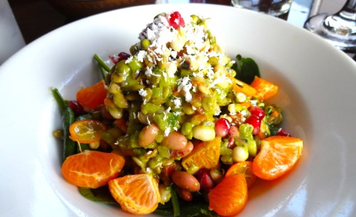 Mandarin and Lentil Salad with Black Eyed Peas, Avocado, Coconut, and Pomegranate (7/10).