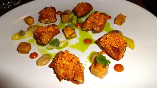 Chicken Wings, Persimmon, Almond, Mustard, Green Garlic, and Honey (8.5-9/10).