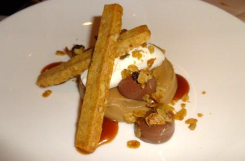 Butterscotch Pudding with Dark Chocolate Bavarian Cream, Pecan Shortbread Wild Pecan Granola, and Vanilla Chantilly (8/10).