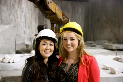 Liz and I with Our Hard Hats!
