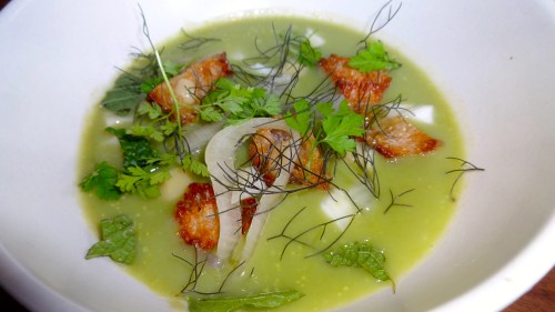 Green Garlic Soup, Croutons, Pickled Fennel, and Lemon (8/10).