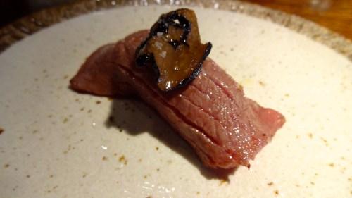A5 Miyazaki Wagyu Nigiri With Black Truffle (8.5/10).