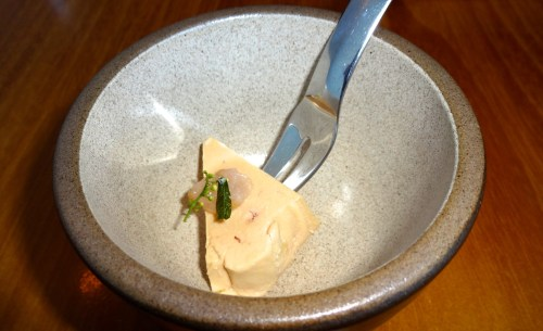Poached Foie Gras with Pickled Ramps and Peppercorn Flower (8/10).