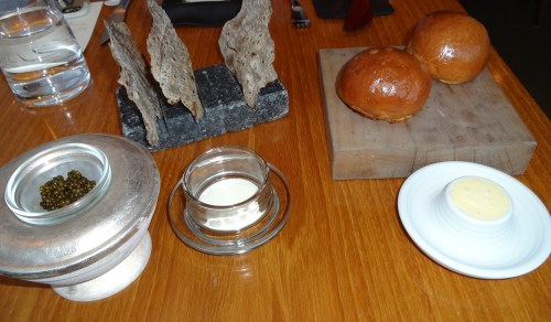 Buckwheat Crackers with Smoked Crème Fraîche and Osetra Caviar (8.5/10) and Brioche with Butter (8/10).