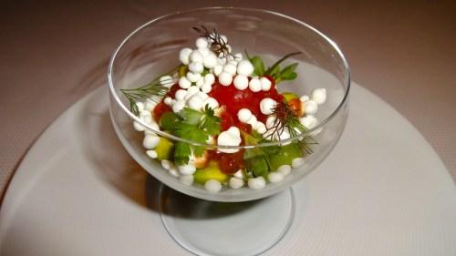 Garden Menu: Achadinha Feta with King Salmon Roe, Cucumber, and Cherry Tomatoes (8.5/10).