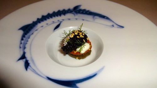 Quince Menu: Black River Russian Caviar with Eggplant, Chickpea, and Sesame Seed (8/10).