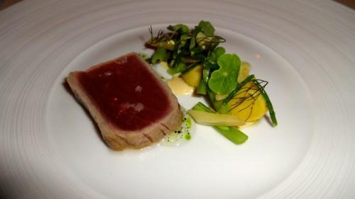 Quince Menu: California Yellowfin Tuna with Summer Beans, Wild Fennel, and Nasturtium (7.5/10).