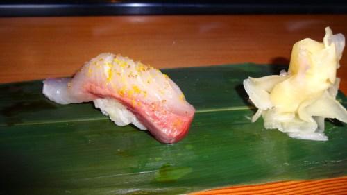 Kanpachi/Amberjack Nigiri with Meyer Lemon Salt and Zest (8.5/10).