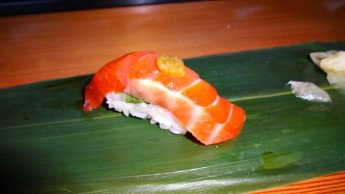 Umi Masu/Ocean Trout Nigiri with Meyer Lemon, Kosho, and Shiso (8/10).