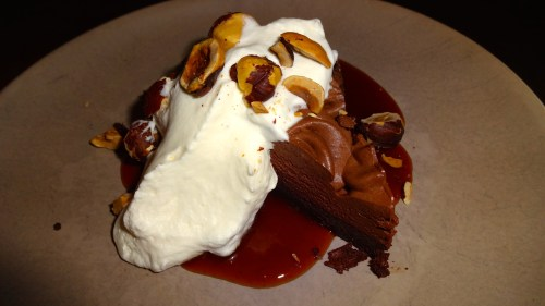 Chocolate Cake with Whipped Cream and Hazelnuts (7.5-8/10).