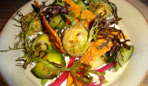 Falafel Salad with Crispy Lavash, Cucumber, Tzatziki, and Mint (7.5-8/10).