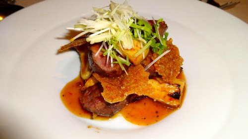 Tataki of Wagyu Beef with Eggplant, Miso, and Mushrooms (7.5/10).
