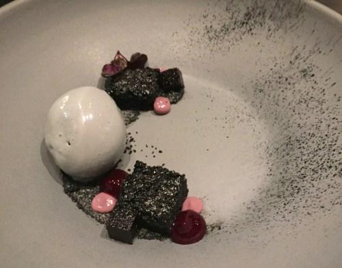 Black Sesame Ice Cream with Devils Food Cake, Black Rice Gel, and Cassis Pâte de Fruit.