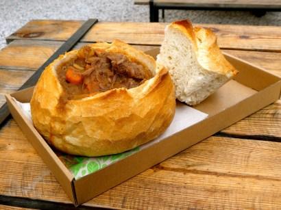 Goulash in a Bread Bowl.