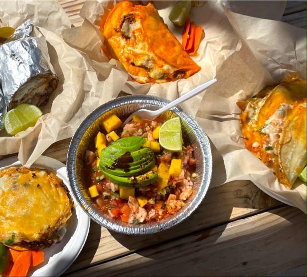 Fish Wrap, Quesabirria Tacos, Gobernador Tacos, Shrimp Ceviche, and Adobada Vampiro.