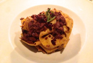 Pappardelle with Wild Boar Ragù and Cranberries.