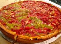 Half Chorizo and Green Chili and Half Veggie Deep Dish Pizza.