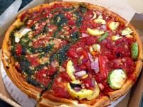 Half Pesto and Half Veggie Deep Dish Pizza.
