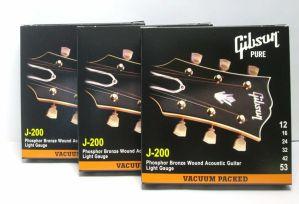 Lot of 3 Gibson J-200 Phosphor Wound Acoustic Guitar Strings Lt 12-53 SAG-J200L