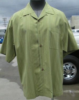 Tommy Bahama Casual Button Up Shirt Short Sleeve Green Striped L 100% Silk