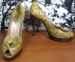 Emporio Armani Vero Cuoio Womens Open Toe Heels Snake Reptile Animal Skin Sze 40