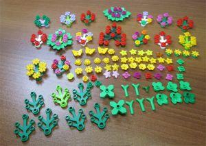 Lot of Lego Building Blocks Flowers Tree Bush Leaves Butterflies Ladybugs Stars