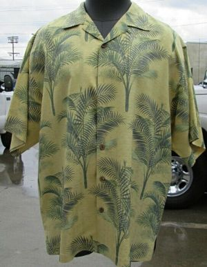 Tommy Bahama Casual Button Up Shirt Short Sleeve Yellow  L 100% Silk
