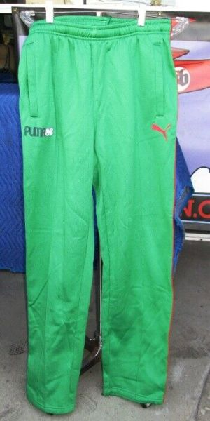 Puma Limited Edition Track Pants Sweatpants Men's Large Green With Red Stripe