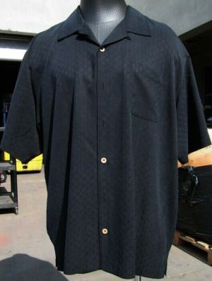 Tommy Bahama Casual Button Up Shirt Short Sleeve Black Striped #20 100% Silk