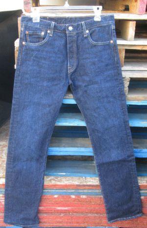 Vintage Mens Levis 501 Denim Dark Blue Jeans Button Fly Size 30×32