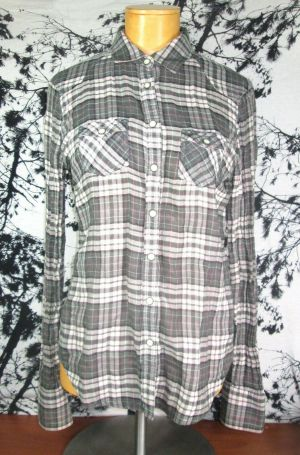 American Eagle Outfitters Womens Button Up Long Sleeve Plaid Flannel Shirt Sz 4