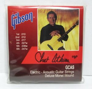 Gibson GCAS Electric Acoustic Guitar Strings Deluxe Monel Chet Atkins .010-.047