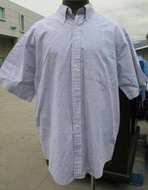 L.L. Bean Dress Shirt, Button Down Shirts, Short Sleeve Blue Striped 100% Cotton