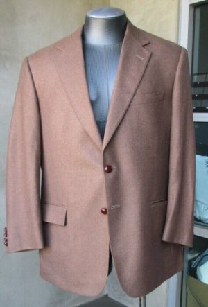 Carroll & Co. Suit Blazer Jacket Sport Coat Size 44R Brown Cashmere Fully Lined