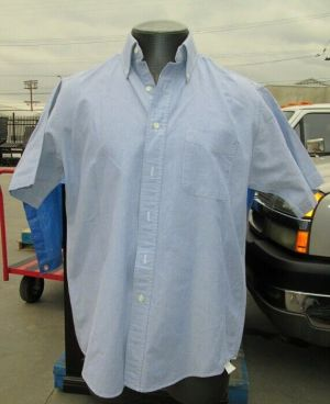 L.L. Bean Dress Shirt, Button Down Shirts, Short Sleeve Blue #07 100% Cotton