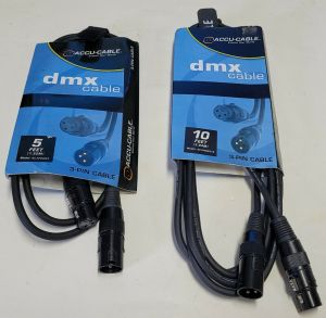Lot of 2 Accu Cable 10ft & 5ft DJ 3-Pin DMX XLR Lighting Cable