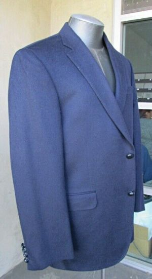 Carroll & Co. Suit Blazer Jacket Sport Coat Size 42R Navy Cashmere Fully Lined