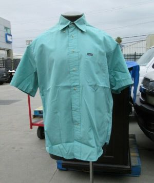 Façonnable Dress Shirt Button Down Short Sleeve Large Teal Solid 100% Cotton