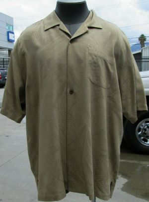 Tommy Bahama Casual Button Up Shirt Short Sleeve Brown XL 100% Silk