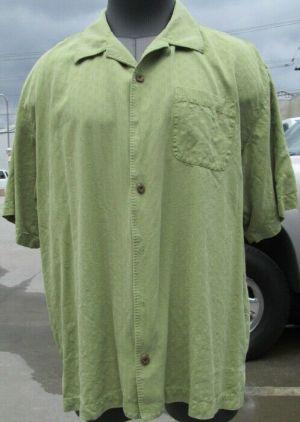 Tommy Bahama Casual Button Up Shirt Short Sleeve Green #26 XL 100% Silk